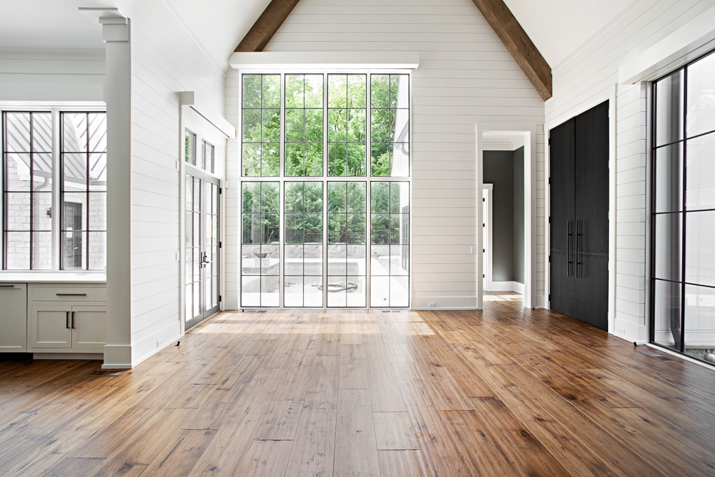 "Extra wide 11"" hand hewn Northern Appalachian hickory plank flooring by Textures Nashville"