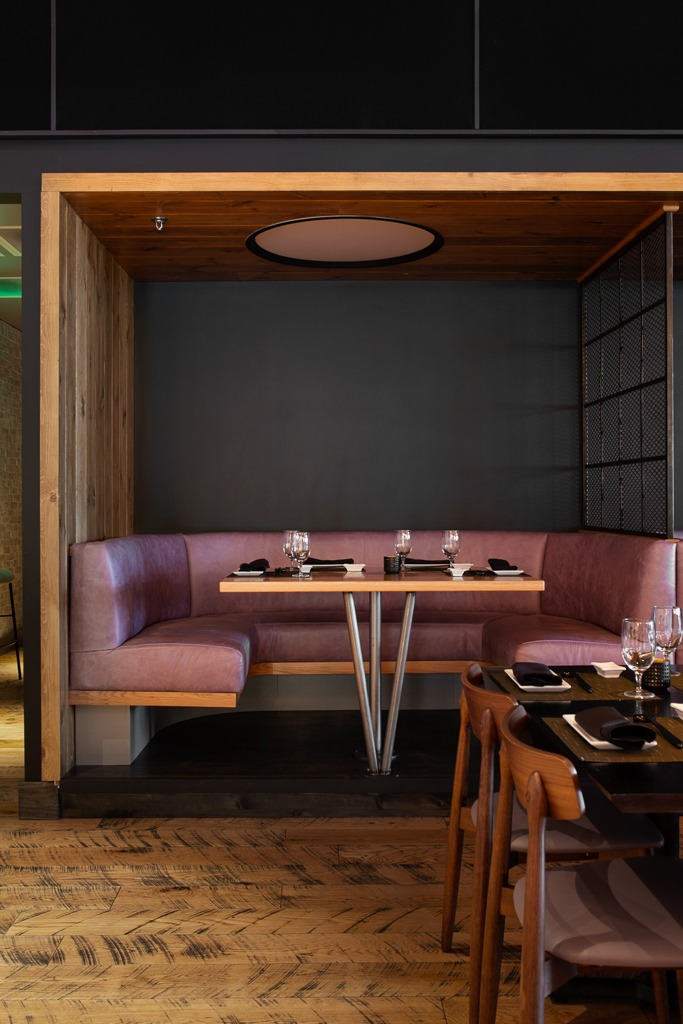 O-Ku sushi dining room in nashville featuring rustic peachey hardwood flooring by Textures Nashville.
