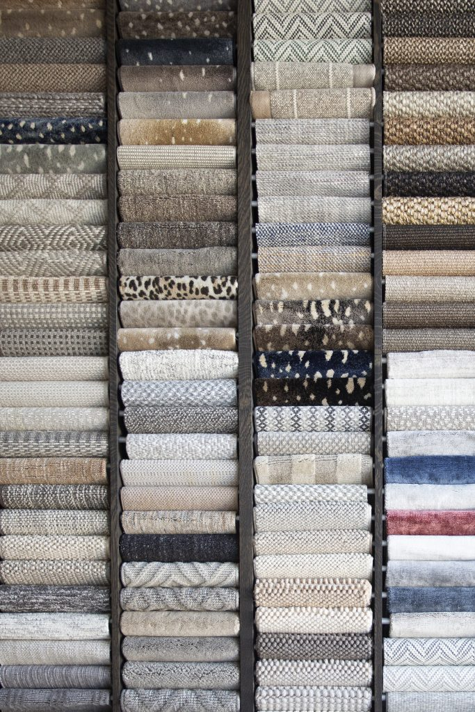 Custom area rug samples featured in the Textures Nashville design center